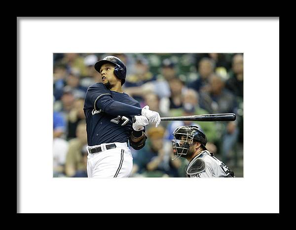 American League Baseball Framed Print featuring the photograph Carlos Gomez by Mike Mcginnis
