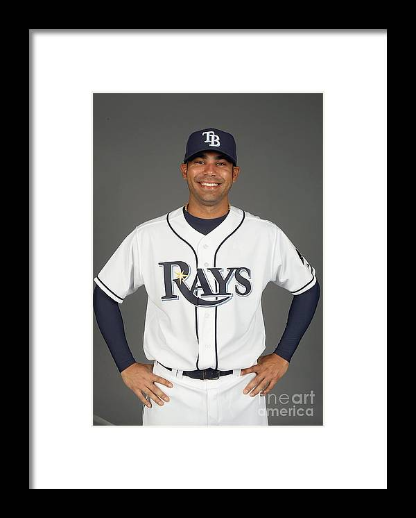 Media Day Framed Print featuring the photograph Carlos Pena by Nick Laham