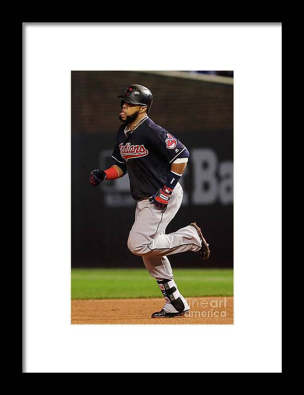 Second Inning Framed Print featuring the photograph Carlos Santana by Jamie Squire