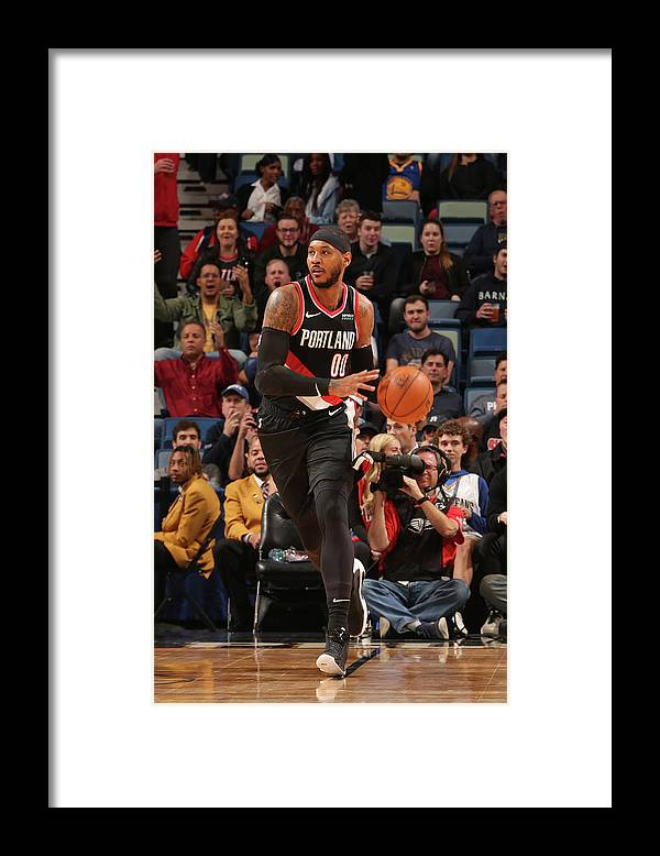 Smoothie King Center Framed Print featuring the photograph Carmelo Anthony by Layne Murdoch Jr.