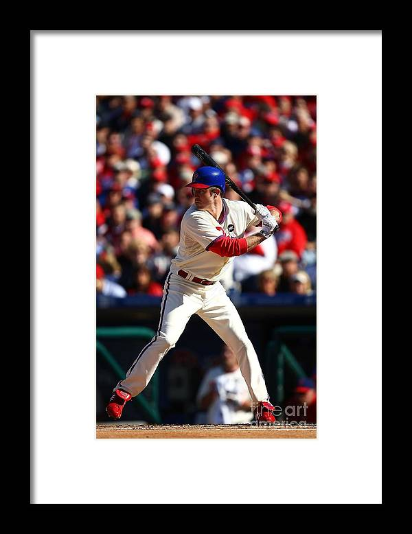 Playoffs Framed Print featuring the photograph Chase Utley by Chris Mcgrath