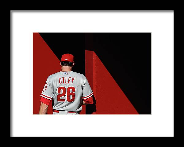 Following Framed Print featuring the photograph Chase Utley by Christian Petersen