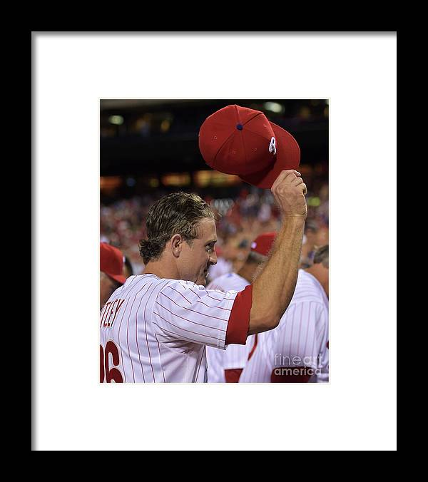 Crowd Framed Print featuring the photograph Chase Utley by Drew Hallowell