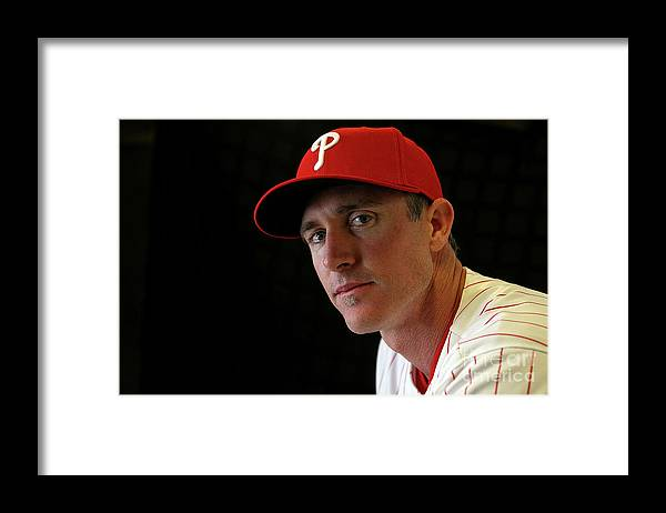 Media Day Framed Print featuring the photograph Chase Utley by Mike Ehrmann