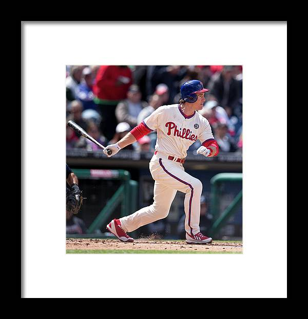 Citizens Bank Park Framed Print featuring the photograph Chase Utley by Mitchell Leff