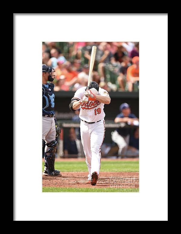 American League Baseball Framed Print featuring the photograph Chris Davis by Mitchell Layton