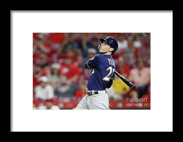 Great American Ball Park Framed Print featuring the photograph Christian Yelich by Joe Robbins