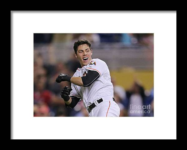 People Framed Print featuring the photograph Christian Yelich by Rob Foldy