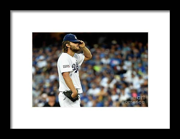 People Framed Print featuring the photograph Clayton Kershaw and Jhonny Peralta by Kevork Djansezian