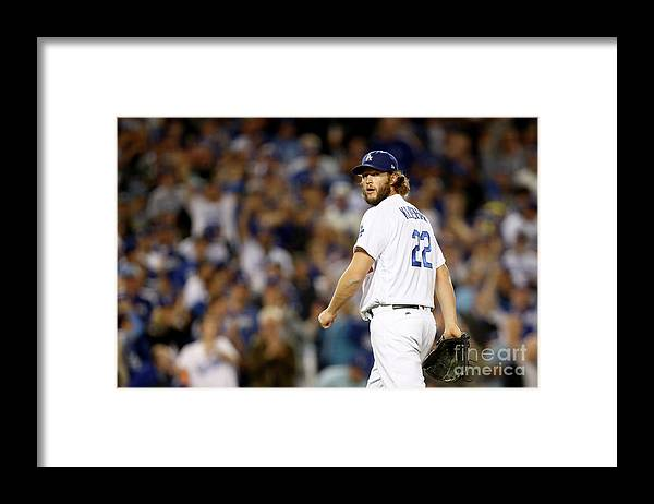 Three Quarter Length Framed Print featuring the photograph Clayton Kershaw by Ezra Shaw