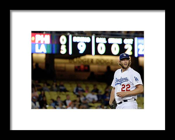 Ninth Inning Framed Print featuring the photograph Clayton Kershaw by Kevork Djansezian