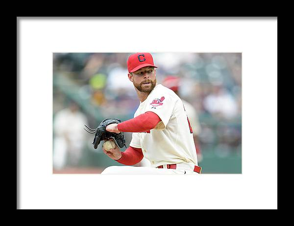 American League Baseball Framed Print featuring the photograph Corey Kluber by Jason Miller