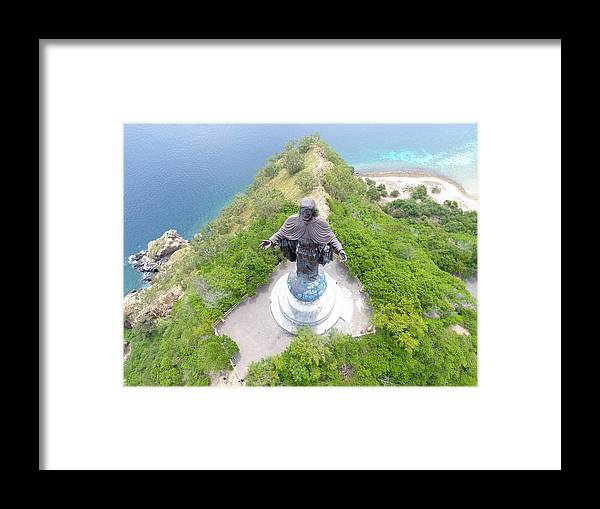 Travel Framed Print featuring the photograph Cristo Rei of Dili statue of Jesus by Brthrjhn2099