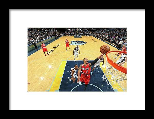 Nba Pro Basketball Framed Print featuring the photograph Damian Lillard by Joe Murphy