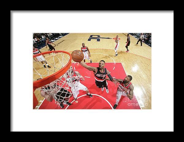 Nba Pro Basketball Framed Print featuring the photograph Damian Lillard by Ned Dishman