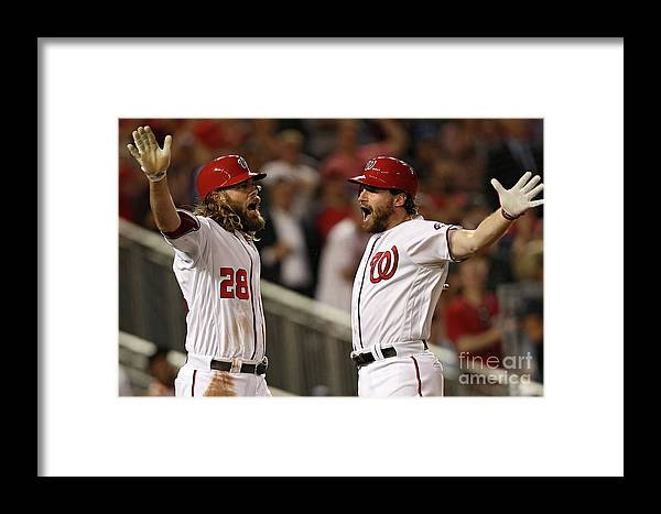 Three Quarter Length Framed Print featuring the photograph Daniel Murphy And Jayson Werth by Patrick Smith