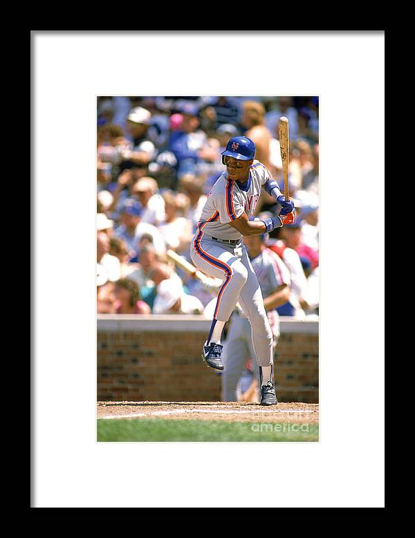 1980-1989 Framed Print featuring the photograph Darryl Strawberry by Ron Vesely