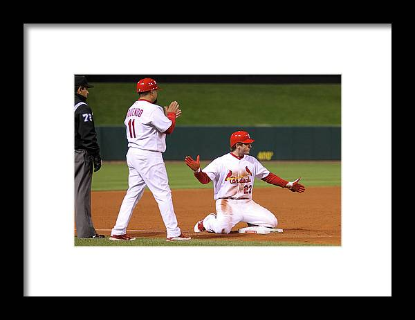 St. Louis Cardinals Framed Print featuring the photograph David Freese by Ezra Shaw