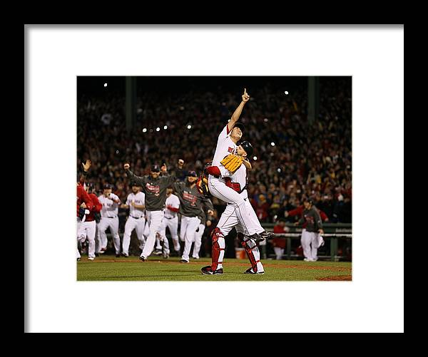 Playoffs Framed Print featuring the photograph David Ross and Koji Uehara by Rob Carr