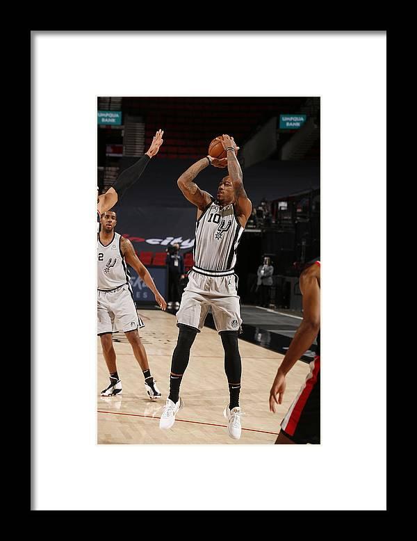 Nba Pro Basketball Framed Print featuring the photograph Demar Derozan by Cameron Browne