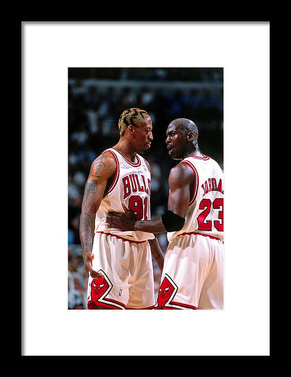 Chicago Bulls Framed Print featuring the photograph Dennis Rodman and Michael Jordan by Nathaniel S. Butler