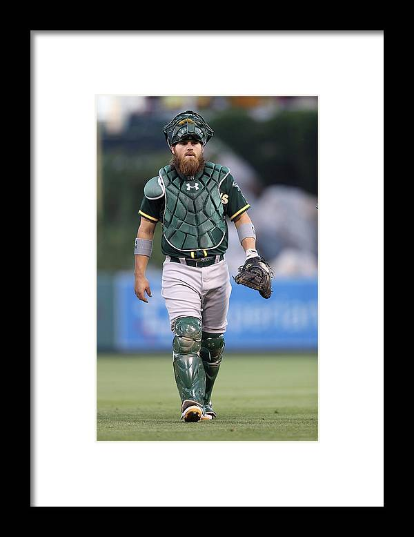 American League Baseball Framed Print featuring the photograph Derek Norris by Paul Spinelli