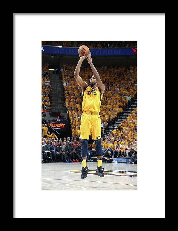 Playoffs Framed Print featuring the photograph Derrick Favors by Melissa Majchrzak