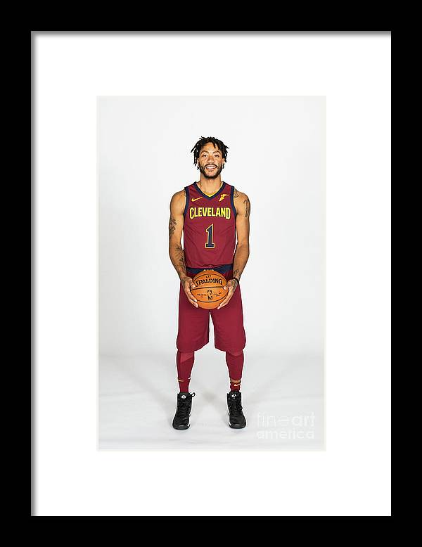 Media Day Framed Print featuring the photograph Derrick Rose by Michael J. Lebrecht Ii