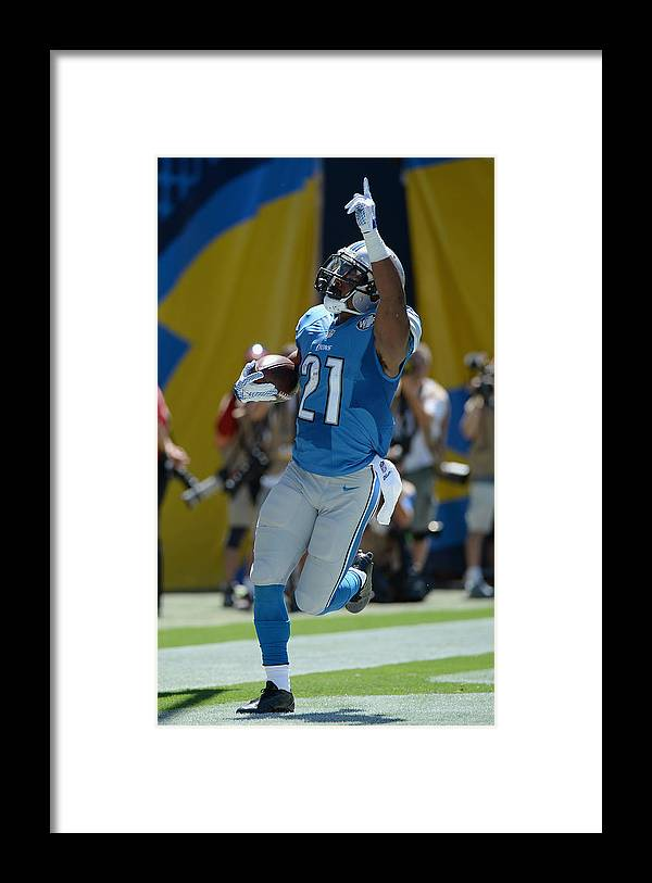 People Framed Print featuring the photograph Detroit Lions v San Diego Chargers by Donald Miralle
