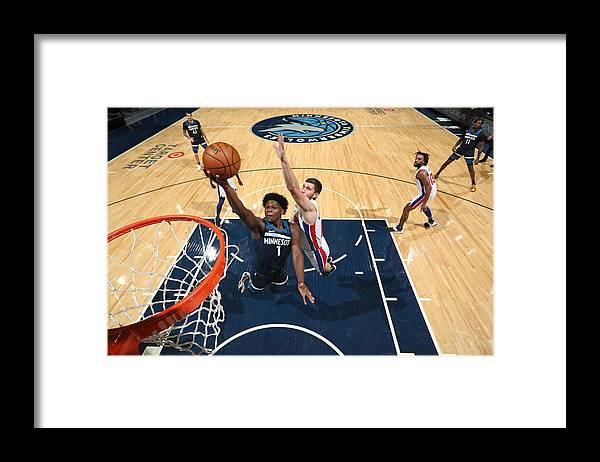 Nba Pro Basketball Framed Print featuring the photograph Detroit Pistons v Minnesota Timberwolves by Jordan Johnson