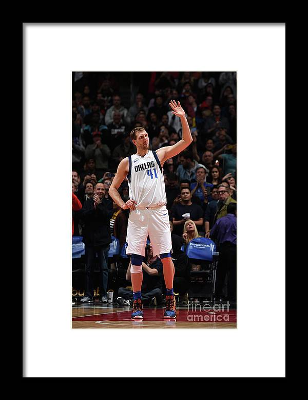 Crowd Framed Print featuring the photograph Dirk Nowitzki by Adam Pantozzi