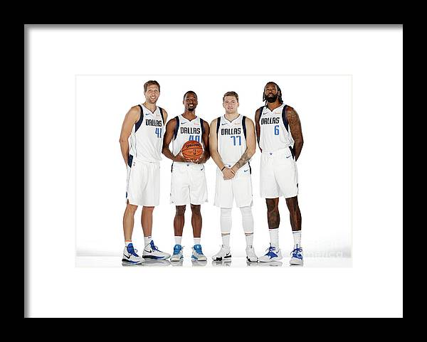 Media Day Framed Print featuring the photograph Dirk Nowitzki, Harrison Barnes, and Deandre Jordan by Glenn James