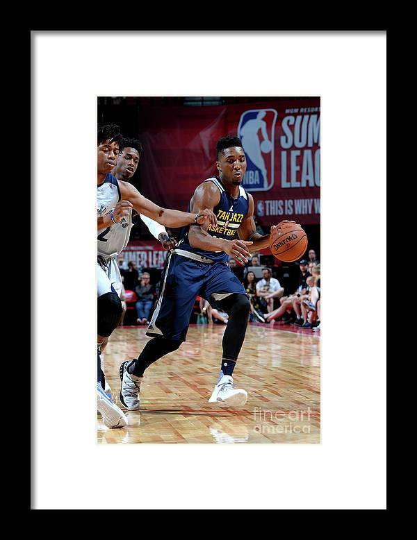 Nba Pro Basketball Framed Print featuring the photograph Donovan Mitchell by Bart Young
