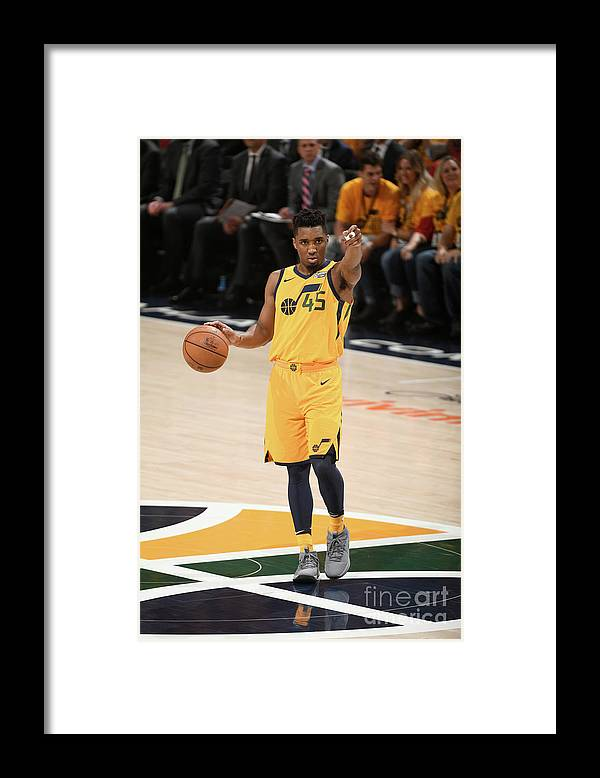 Playoffs Framed Print featuring the photograph Donovan Mitchell by Garrett Ellwood