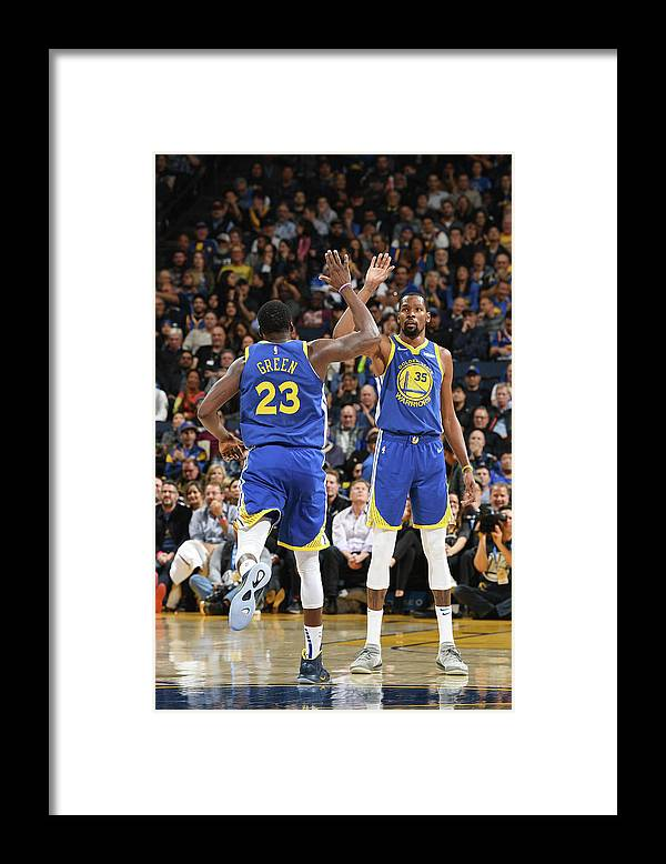 Nba Pro Basketball Framed Print featuring the photograph Draymond Green and Kevin Durant by Noah Graham