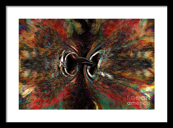 Abstract Art Framed Print featuring the mixed media Duel by ML Walker