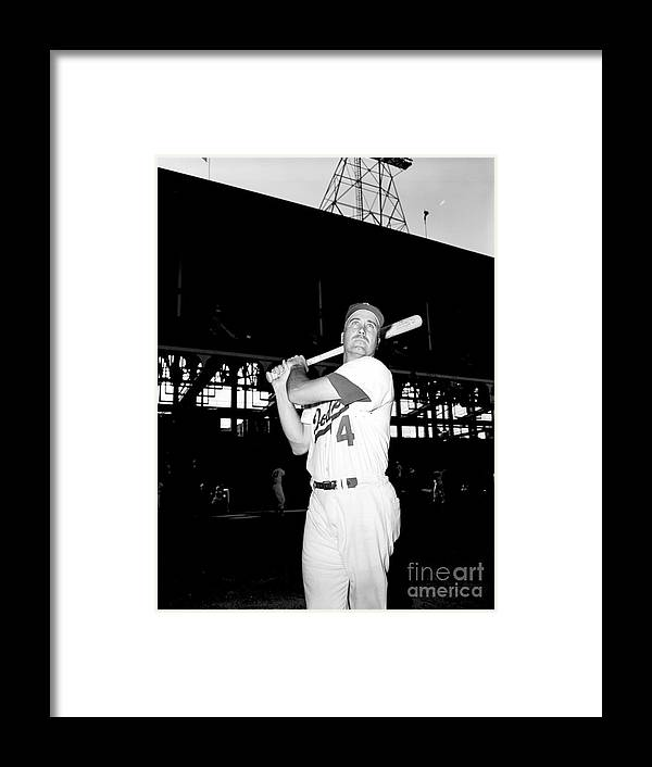 1950-1959 Framed Print featuring the photograph Duke Snider by Olen Collection