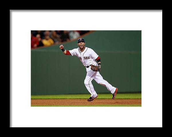American League Baseball Framed Print featuring the photograph Dustin Pedroia by Jared Wickerham