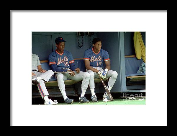 Dwight Gooden Framed Print featuring the photograph Dwight Gooden and Darryl Strawberry by George Gojkovich