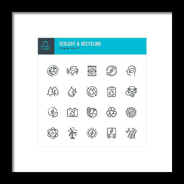 Environmental Conservation Framed Print featuring the drawing ECOLOGY & RECYCLING - set of line vector icons. Editable stroke. Pixel Perfect. Set contains such icons as Climate Change, Alternative Energy, Recycling, Green Technology. by Fonikum