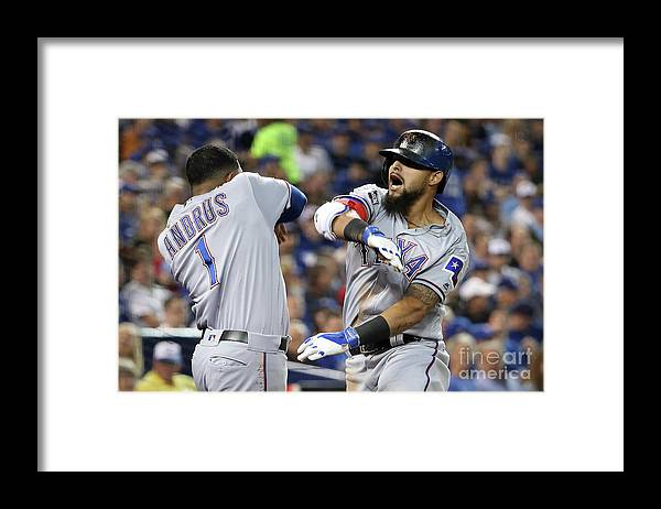 Three Quarter Length Framed Print featuring the photograph Elvis Andrus and Rougned Odor by Tom Szczerbowski