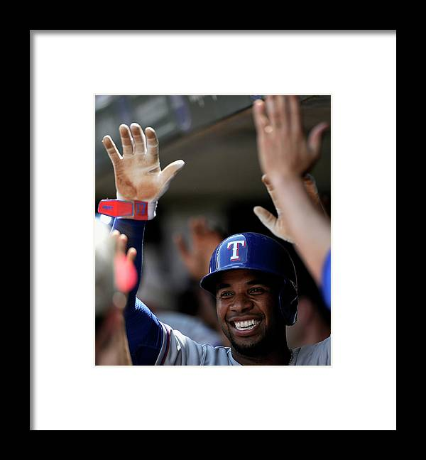 American League Baseball Framed Print featuring the photograph Elvis Andrus by Hannah Foslien