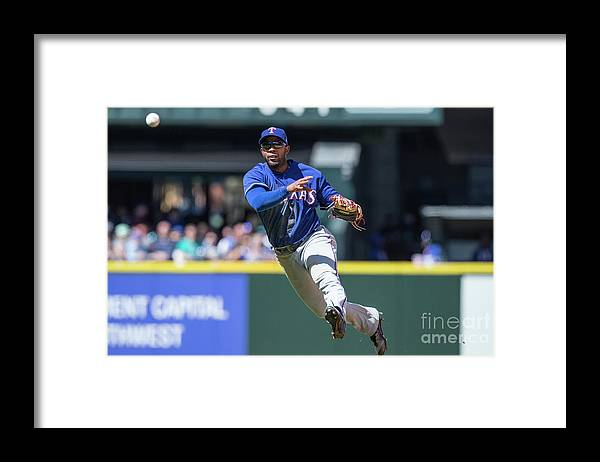 American League Baseball Framed Print featuring the photograph Elvis Andrus by Stephen Brashear
