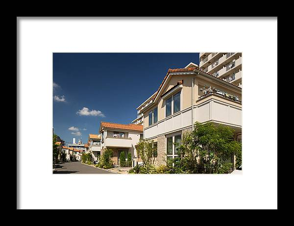 Clear Sky Framed Print featuring the photograph Emerging residential area by Y-studio