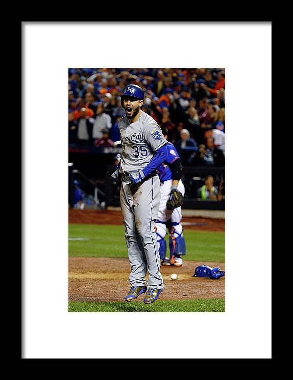 Salvador Perez Diaz Framed Print featuring the photograph Eric Hosmer and Jeurys Familia by Al Bello