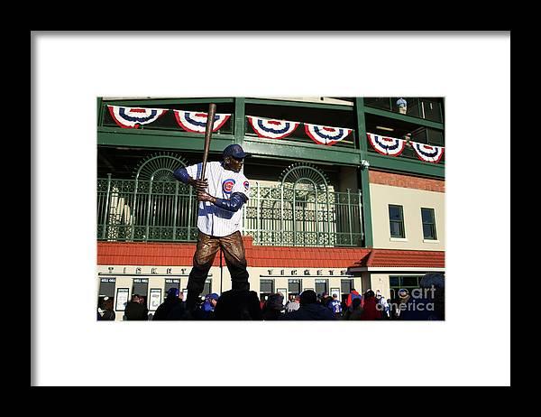 Playoffs Framed Print featuring the photograph Ernie Banks by Alex Trautwig