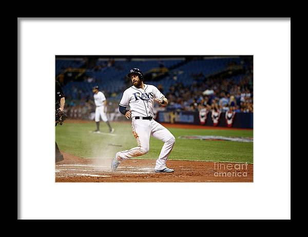 Second Inning Framed Print featuring the photograph Evan Longoria and Derek Norris by Brian Blanco