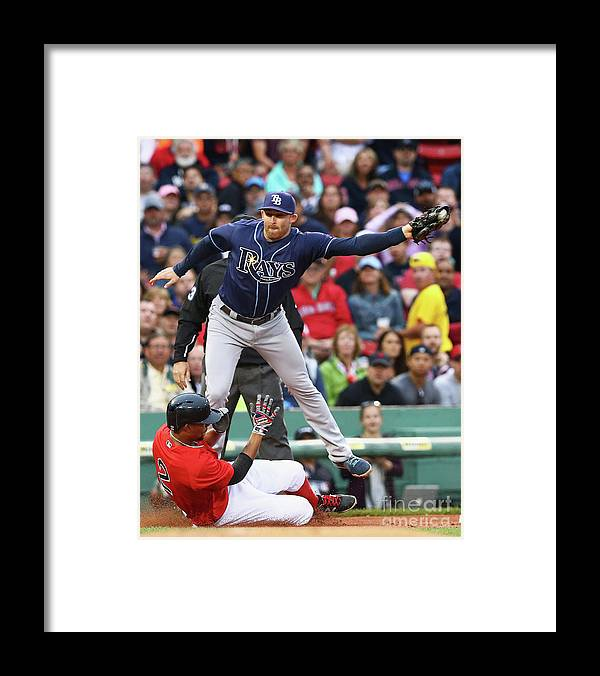 People Framed Print featuring the photograph Evan Longoria and Xander Bogaerts by Maddie Meyer
