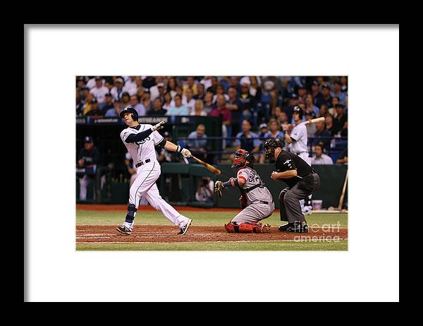 American League Baseball Framed Print featuring the photograph Evan Longoria by Mike Ehrmann