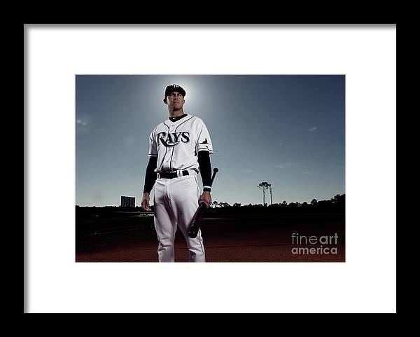 Media Day Framed Print featuring the photograph Evan Longoria by Nick Laham